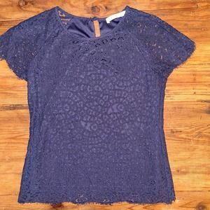 Solitaire Lace BOHO Top, Navy, Small, lined